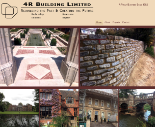 Screen image of the home page for 4R Building Ltd Website