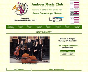 Screen image of the home page of the website for Andover Music Club