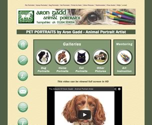 Screen image of the home page of the website for Aron Gadd - Pet Portraits